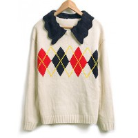 Fluted Lapel Collar Rhomb Design Long Sleeves Cotton Knitted Free Size Loose White Sweater @MFF35w