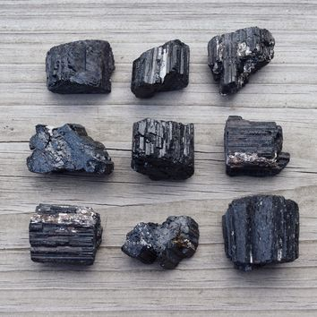 BLACK TOURMALINE Raw Natural Crystal Chunk - Repel Negative Energy