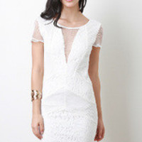 Women's Mesh And Floral Lace Dress round neckline - Size S