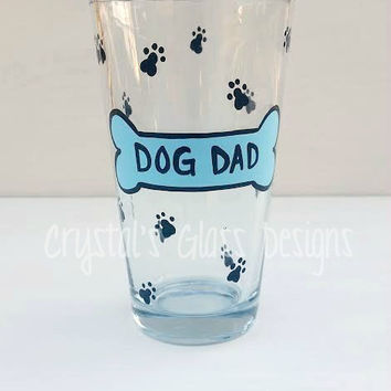 Dog Mom or Dog Dad hand-painted pint glass