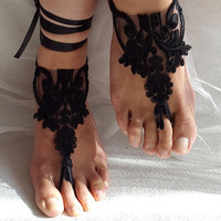 bridal accessories, black lace,   wedding sandals,  shoes,   free shipping!   Anklet,   bridal sandals,  bridesmaids,  wedding  gifts.......