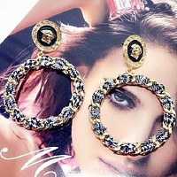VERSACE Stylish Women Hyperbole Personality Circular Earrings Accessories Jewelry