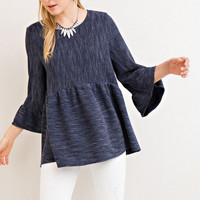 Navy Melange Bell Sleeve Peplum Top