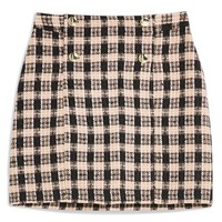 Topshop Check Bouclé Metallic Wrap Skirt | Nordstrom