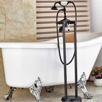 Floor Mounted Faucet Bathroom Bath Clawfoot Bathtub Filter Tub Freestanding Shower Sprayer 019