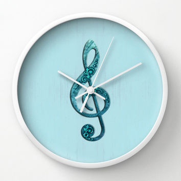Treble Clef Wall Clock in aqua and turquoise