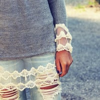 Skyline Lace Sweater in Ash