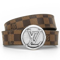 LV Louis Vuitton Women's Checkerboard Belt Smooth Buckle Belt
