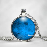 Blue Moon Necklace Glass Pendant - Full Moon Necklace Jewelry Space, Galaxy, Celestial, Solar System,Pastel
