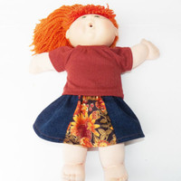 """Autumn Cabbage Patch Clothes HANDMADE Rust Skirt Outfit 16"""" kids doll fall  2 pc"""