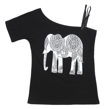 FS Hot Summer Sexy Women Off Shoulder Short Sleeve Shirt Spaghetti Strap Oblique Elephant Print Fashion Lady Tops Cold Shoul