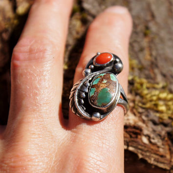 Navajo Native American Turquoise & Coral Ring