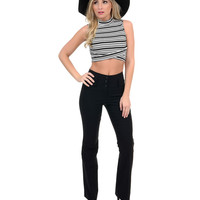Retro Style Black High Waisted Stretch Flare Cut Pants