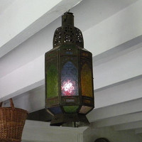 French colored glass candle lantern, Bohemian lantern, shabby chic lantern, vintage lantern, ethnic lantern, hanging lighting lantern, light