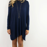 Now Becoming Royalty Navy Long Sleeve Tunic Dress