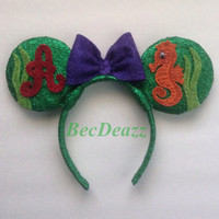 Disney Little Mermaid Ariel Minnie Mouse ears headband