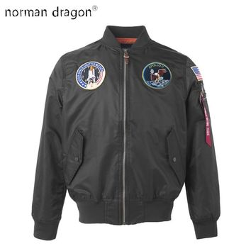 Trendy Apollo US Air Force ma1 Bomber Flight Pilot Jacket american college flag wind brand light new view hip hop 2018 dropship for men AT_94_13