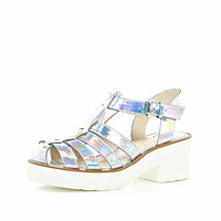 Silver two-tone block heel gladiator sandals - sandals - shoes / boots - women