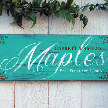 Rustic Family Established Sign, Last Name Sign, in Aqua Green Distressed Finish