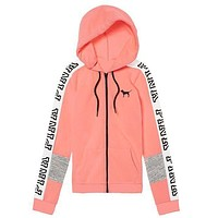 Victoria's Secret Pink Letter Print Trending Women Casual Zipper Hoodie Sweater Stitching And Pink I