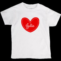Valentines Day Heart Personalized Onesuit or Kid's T-Shirt - Two Color