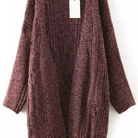 Red Long Sleeve Knit Coat