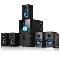 beFree Sound 5.1 Channel Bluetooth Speaker System with USB and SD Slots-Blue