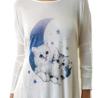 United Couture Midnight Meow Long Sleeve Tee White One