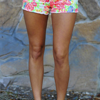 Running Wild Shorts: Neon Floral Print | Hope's