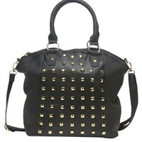 All-Over Studded Satchel | Wet Seal