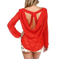 SALE-Coral Red Criss Cross Back Top