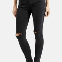 Women's Topshop Moto 'Leigh' Ripped Skinny Jeans (Black)
