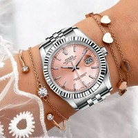 Rolex Fashionable Couple Casual Business Sport Movement Lovers Watch Pink