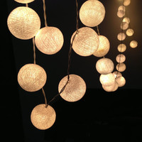 35 Bulbs White cotton ball string lights for Patio,Wedding,Party and Decoration