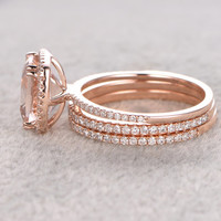 3pc 9x9mm Morganite Engagement ring set,Rose gold,Thin pave Diamond wedding band,14k,Cushion Gemstone Promise Bridal Ring,8 ball Prongs Set