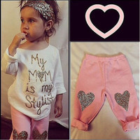 2PCS Toddler Kids Baby Girls Outfits Clothes T-shirt Tops + Long Pants Trousers