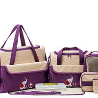 SOHO Collections, 10 Pieces Diaper Bag Set *Limited time offer* (Lavender with Elephant)