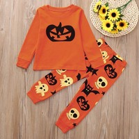 Baby Clothes Kid Girl Boy Clothes Toddler Kids Casual Cotton Pumpkin Print Long Sleeves Tops+ Pants Halloween Clothes Outfit Set
