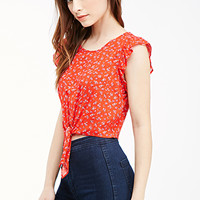 Cropped Knot-Front Ditsy Floral Top