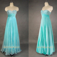 Blue Sweetheart Strapless Pleated Prom Dress  from Cute Dress
