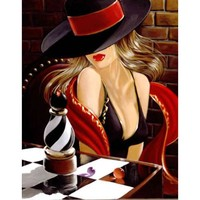 5D Diamond Painting Woman in the Black Hat Kit