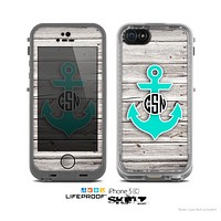 The Teal Green Monogram Anchor on Aged White Wood Planks Skin for the Apple iPhone 5c LifeProof Case