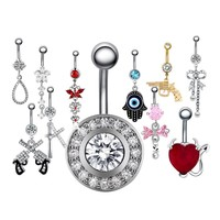 1PC Surgical Steel Belly Button Ring Crystal Navel Piercing Belly Button Piercings Earring for Navel Sexy Body Piercing Jewelry