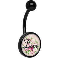 Black Titanium Pink Floral Dope Belly Ring | Body Candy Body Jewelry