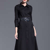 Black 3/4 Sleeves Buttons Pockets Dress