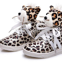 FedEx Free Bigger Children Leopard Head Lovely Cotton Training Shoes/Kids' Sneakers New Leopard Printing Sport Shoes for Boys and Girls
