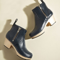 Swedish Hasbeens Climb With Confidence Leather Bootie in Navy | Mod Retro Vintage Boots | ModCloth.com