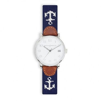 Anchor Needlepoint Watch by Smathers & Branson