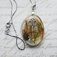 Lost Key Necklace 1 Real Moss Resin Jewelry by NaturalPrettyThings