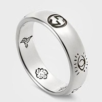 GUCCI New fashion sterling silver pattern floral bird letter couple ring Silver